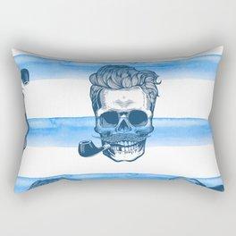 Eternity Skull silhouette in engraving style Rectangular Pillow