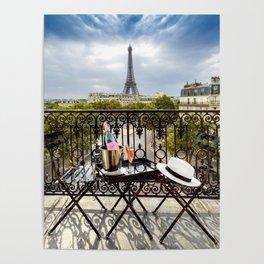 Eiffel Tower Paris Balcony View Poster