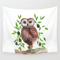 avocado Wall Tapestries featuring Owl with avocado illustration by inkstruck