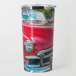 Beautiful red vintage taxis in Havana, Cuba. Travel Mug