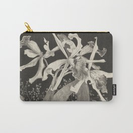 Orchid Flowers Black and White Vintage Print Carry-All Pouch