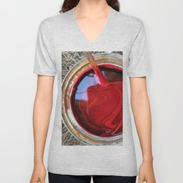 Red Paint Can on Straw Unisex V-Neck