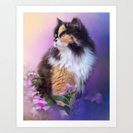 Calico Kitty In The Garden Art Print