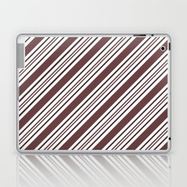 Pantone Red Pear and White Thick and Thin Angled Lines - Diagonal Stripes Laptop & iPad Skin