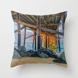 Rocks Under Newport Pier Throw Pillow