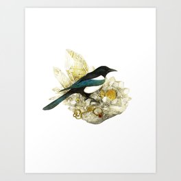 Magpie and Rutilated Quartz Art Print