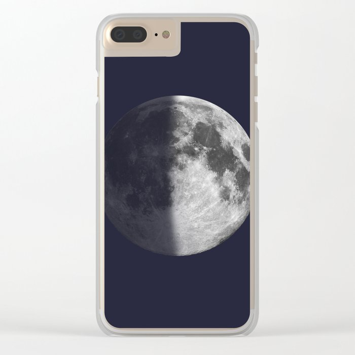First Quarter Moon on Navy Clear iPhone Case