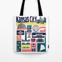 kansas city Tote Bags featuring Kansas City by cwassmer