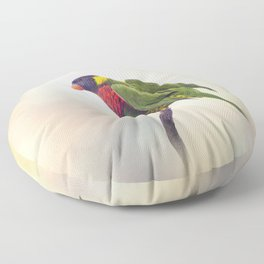 Rainbow Lorikeet Perched on a branch Floor Pillow