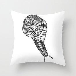 Black and White Snail Throw Pillow
