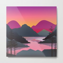 Illustration of the mountain and lake landscape with fir-tree silhouettes. Metal Print