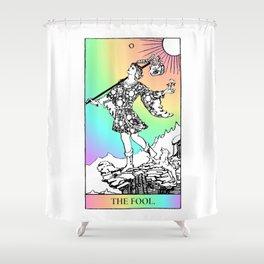 0. The Fool- Pastel Rainbow Tarot Shower Curtain