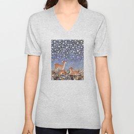 whitetail fawns under the stars Unisex V-Neck