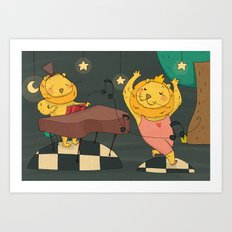 funny dancing lion Art Print