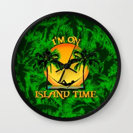 Palm Trees Tropical Island Time Wall Clock