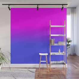 Neon Blue and Hot Pink Ombré Shade Color Fade Wall Mural