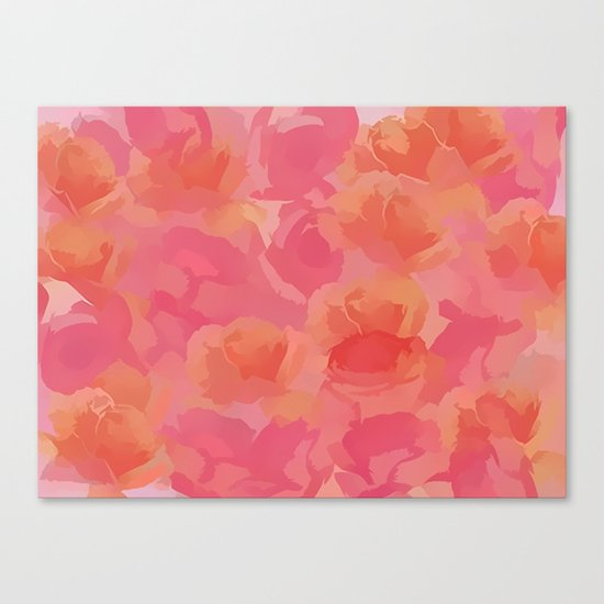 Soft Rose Bouquet Abstract Canvas Print