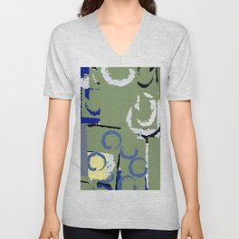 Olive Rose Abstract Field Unisex V-Neck
