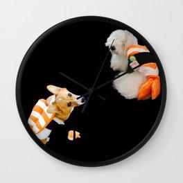 Sushi Dogs - Ebi sushi puppies corgi Coton de Tulear Wall Clock