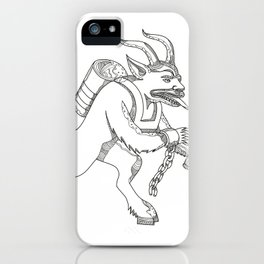 Krampus With Stick Doodle Art iPhone Case