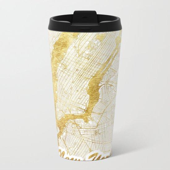 New York Map Gold Metal Travel Mug