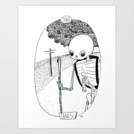 Skeleton Tarot 2 of Canes Art Print
