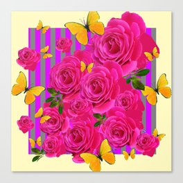 PINK GARDEN ROSES & YELLOW BUTTERFLIES MODERN ART FROM SOCIETY6   BY SHARLESART. Canvas Print