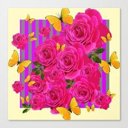 PINK GARDEN ROSES & YELLOW BUTTERFLIES MODERN ART FROM SOCIETY6   BY SHARLESART. Canvas Print