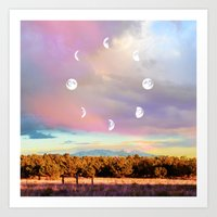 moon phases Art Prints featuring Moon Phases by LoveFreeMovement