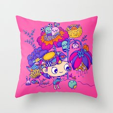 Flower Garden Friends Throw Pillow
