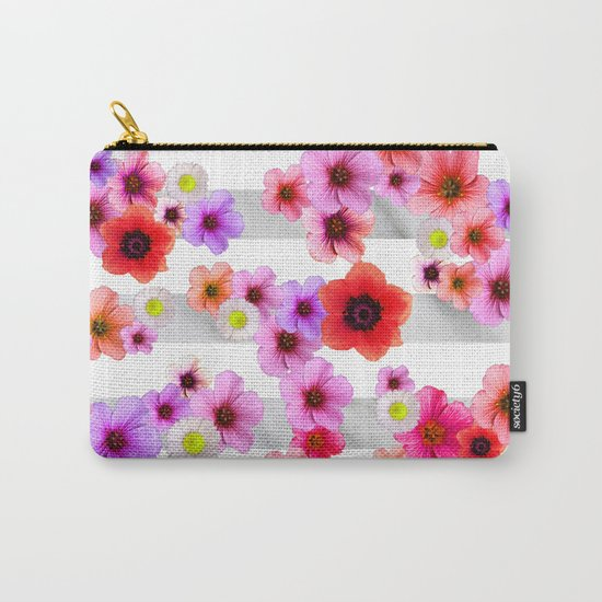 Flowers and Stripes 4 Carry-All Pouch
