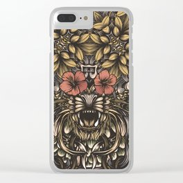 Tiger and flowers Clear iPhone Case