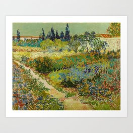 Garden at Arles / Flowering Garden with Path by Vincent Van Gogh (1888) Art Print