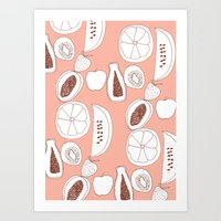 fruits Art Prints featuring Fruits by Bouffants and Broken Hearts
