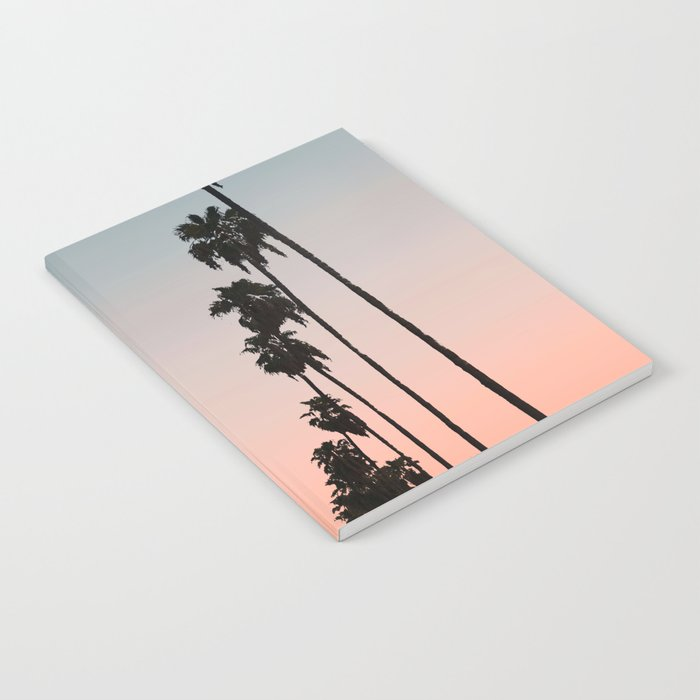 California Sunset // Palm Tree Silhouette Street View Orange and Blue Color Sky Beach Photography Notebook