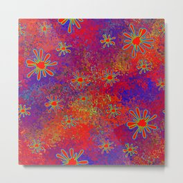 Splats and Blobs in Red Comic Pop-Art Metal Print