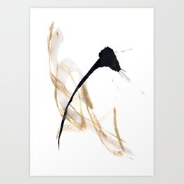 Live Your Color no.10 - black gold modern minimal black and white abstract painting Art Print