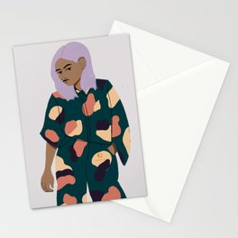 Girl in Modern Graphics Catsuit Stationery Cards