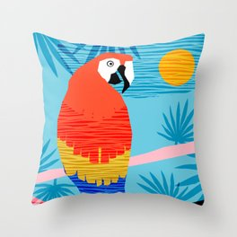 Say What - memphis throwback retro neon tropical 1980s 80s style hipster bright bird paradise art Throw Pillow