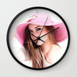 Fashion Illustration Pink Hat Close Up Wall Clock