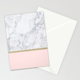 Marble Gold Blush Pink Pattern Stationery Cards