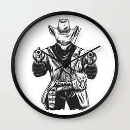 Wild cowboy skeleton - western skull cartoon Wall Clock