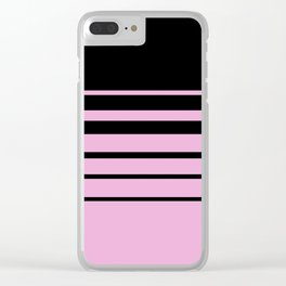 Black and pink classic striped pattern . Clear iPhone Case