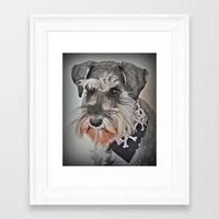 schnauzer Framed Art Prints featuring Schnauzer by JaninesWorld