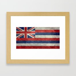 Hawaiian Flag in Vintage Retro Style Framed Art Print