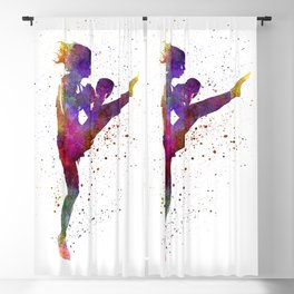 Woman boxer boxing kickboxing silhouette isolated 01 Blackout Curtain