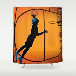 Basketball Player Silhouette Shower Curtain