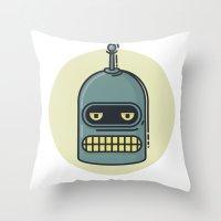 bender Throw Pillows featuring Bender by Thiago Grossmann