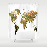 world map Shower Curtains featuring world map by haroulita