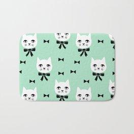 Cute Cats bow ties mint kittens cat art pattern design by andrea lauren Bath Mat